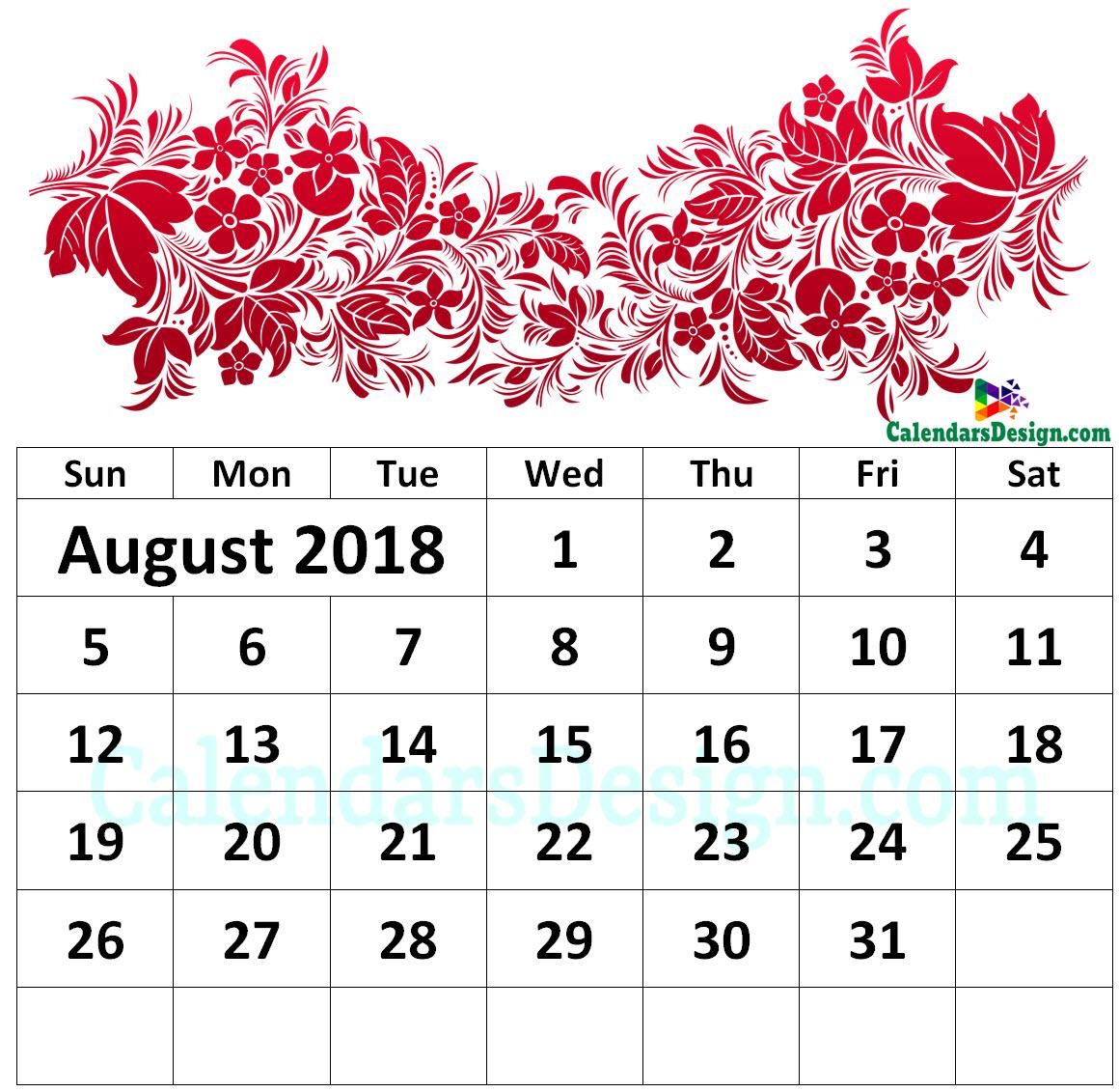 Floral August 2018 Wall Calendar