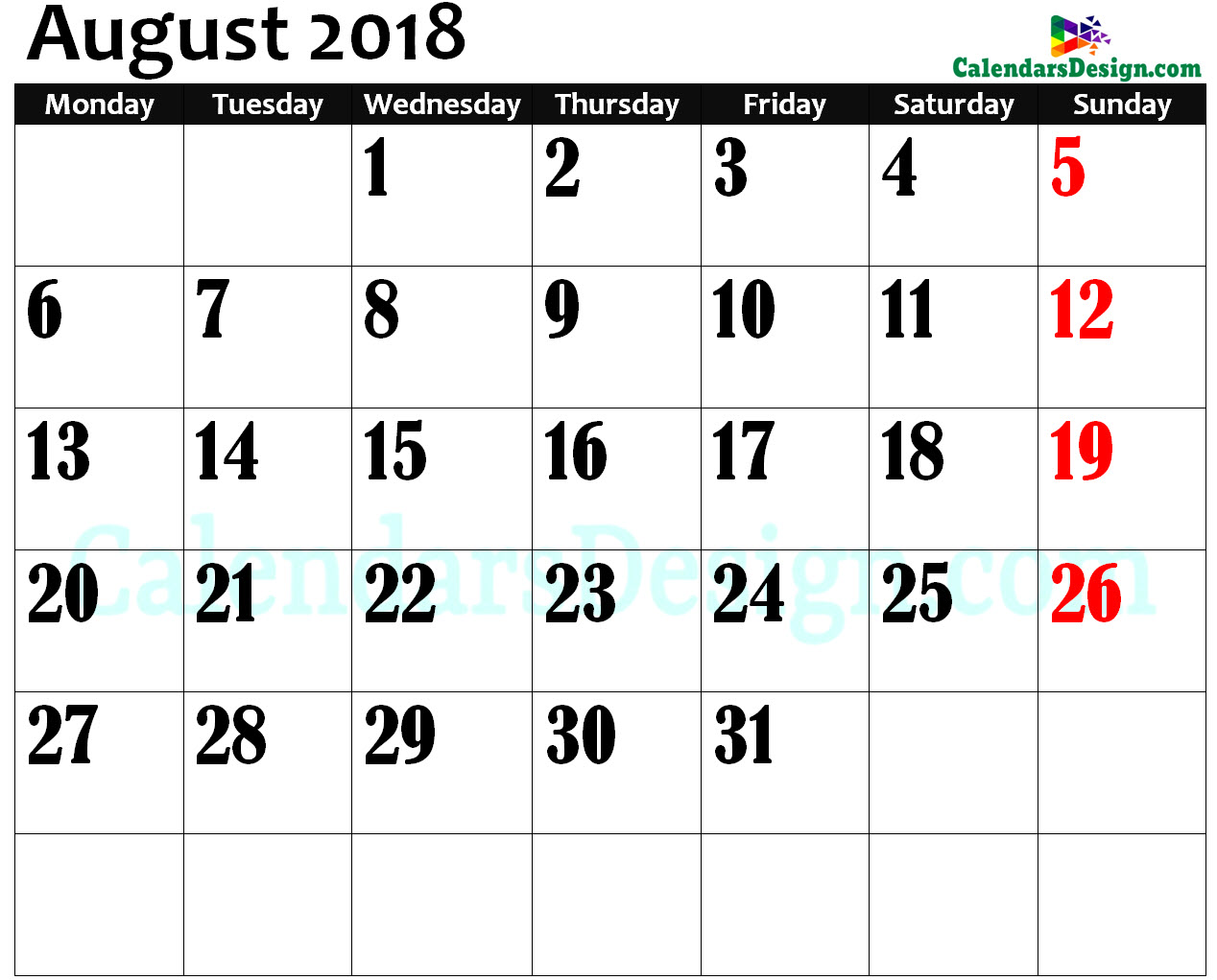 Print August 2018 Calendar in Page Format