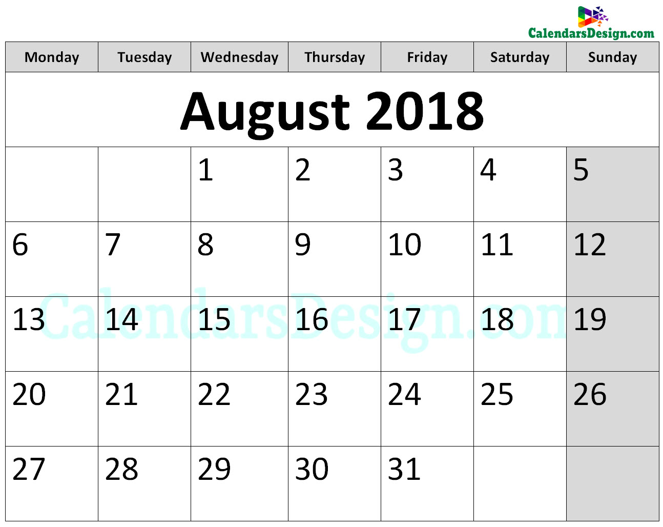 Printable Calendar for August 2018 Page