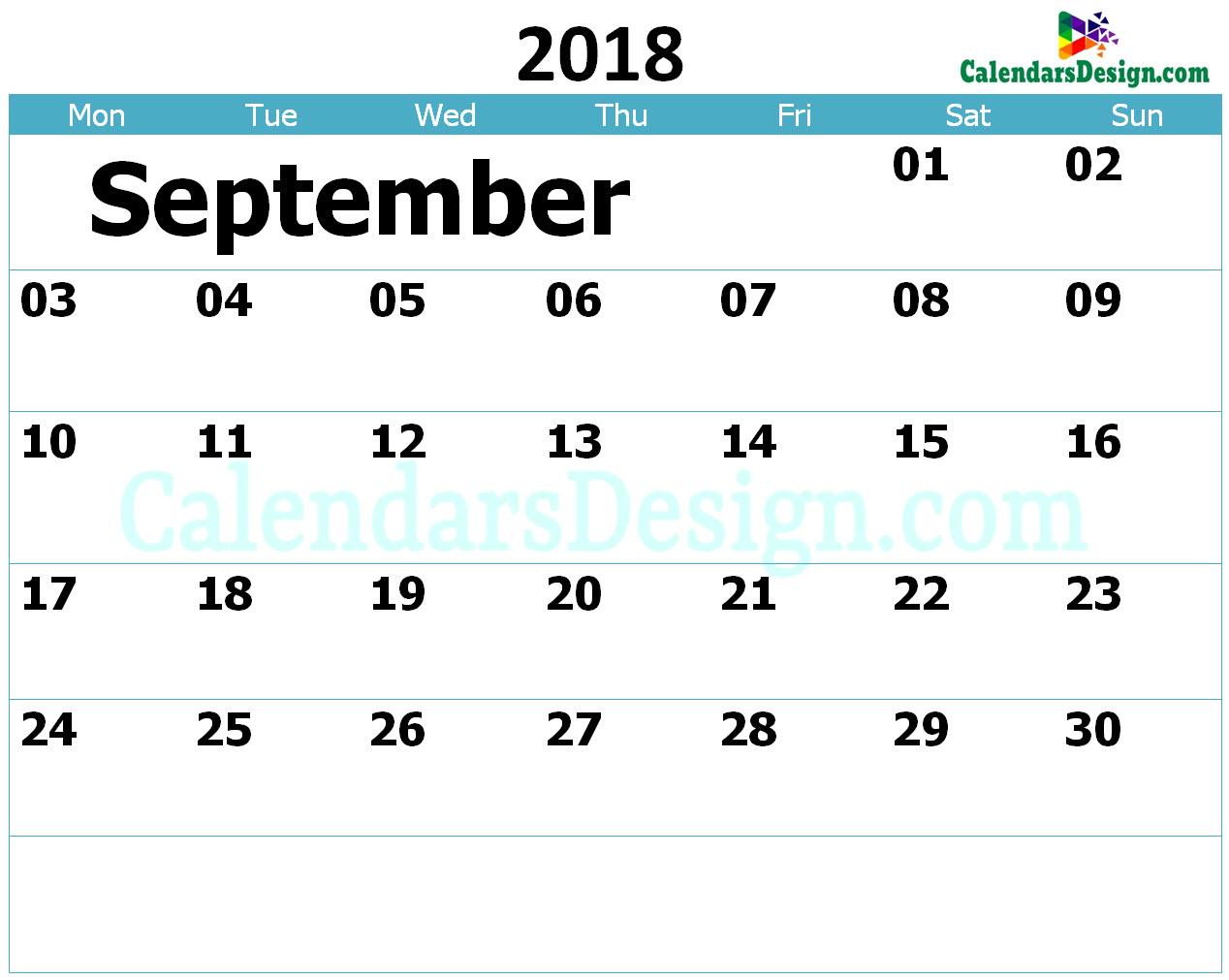 Printable Calendar for September 2018 Templates