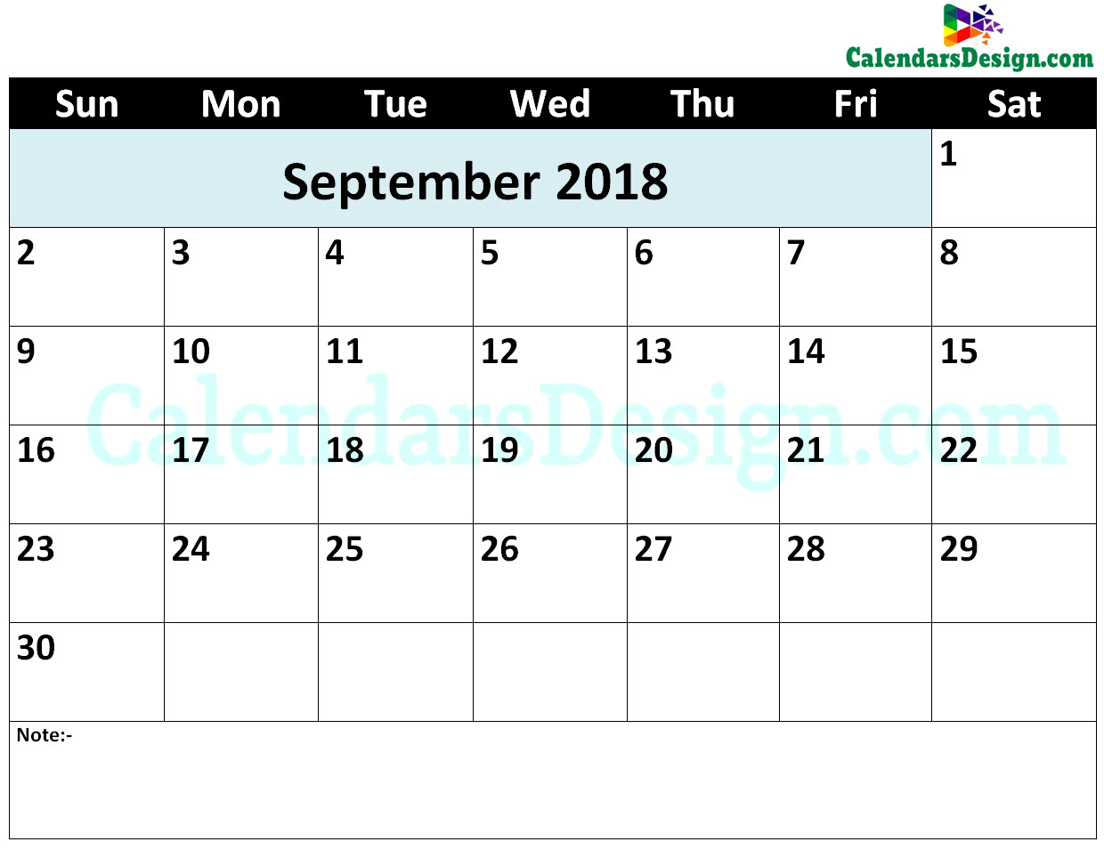 Printable Calendar for September 2018 Word