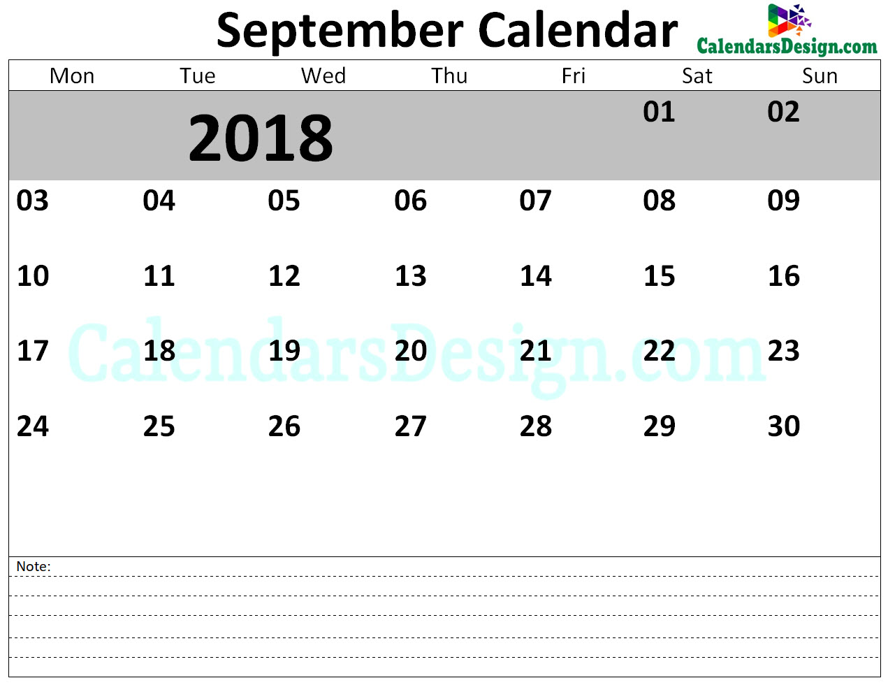 September 2018 Calendar Blank Template