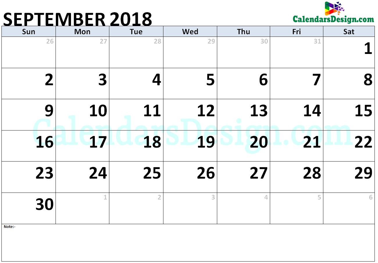 September 2018 Calendar Word Doc