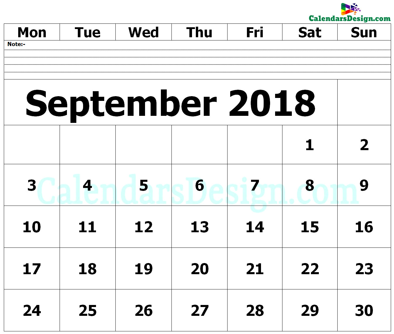 September 2018 Printable Blank Calendar