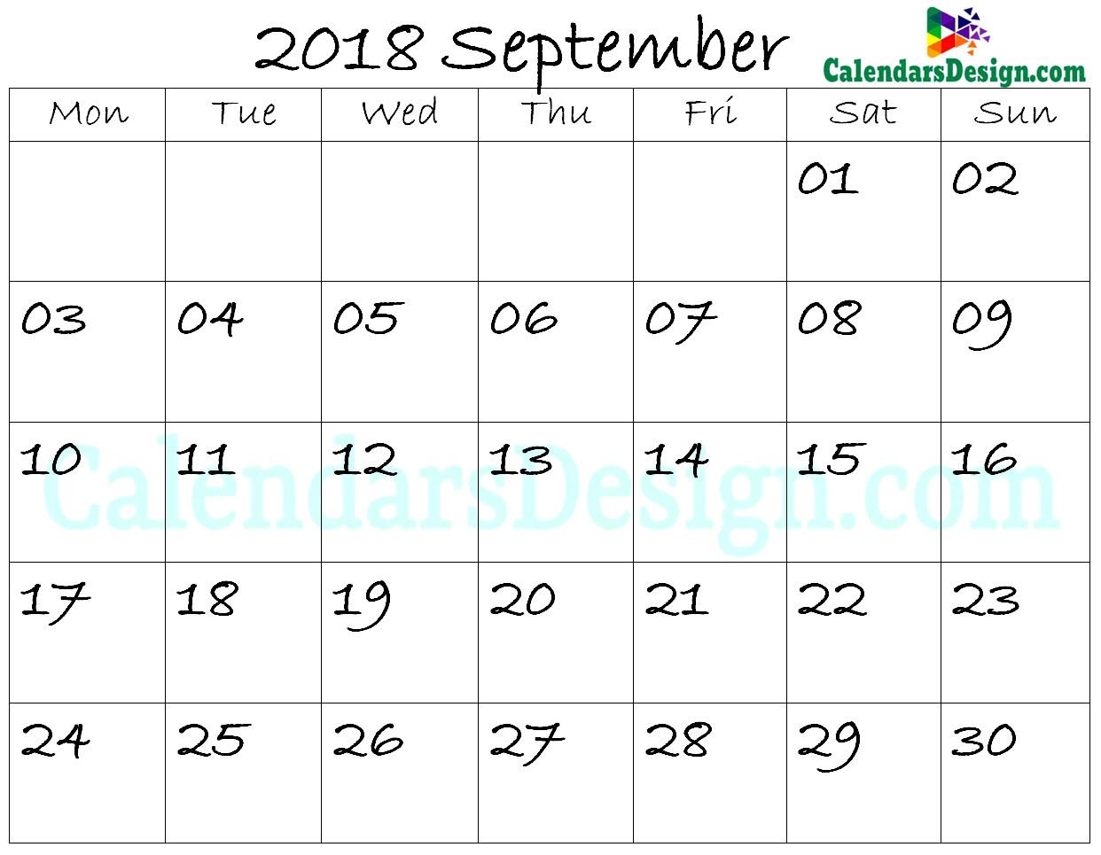 September Calendar 2018 Template