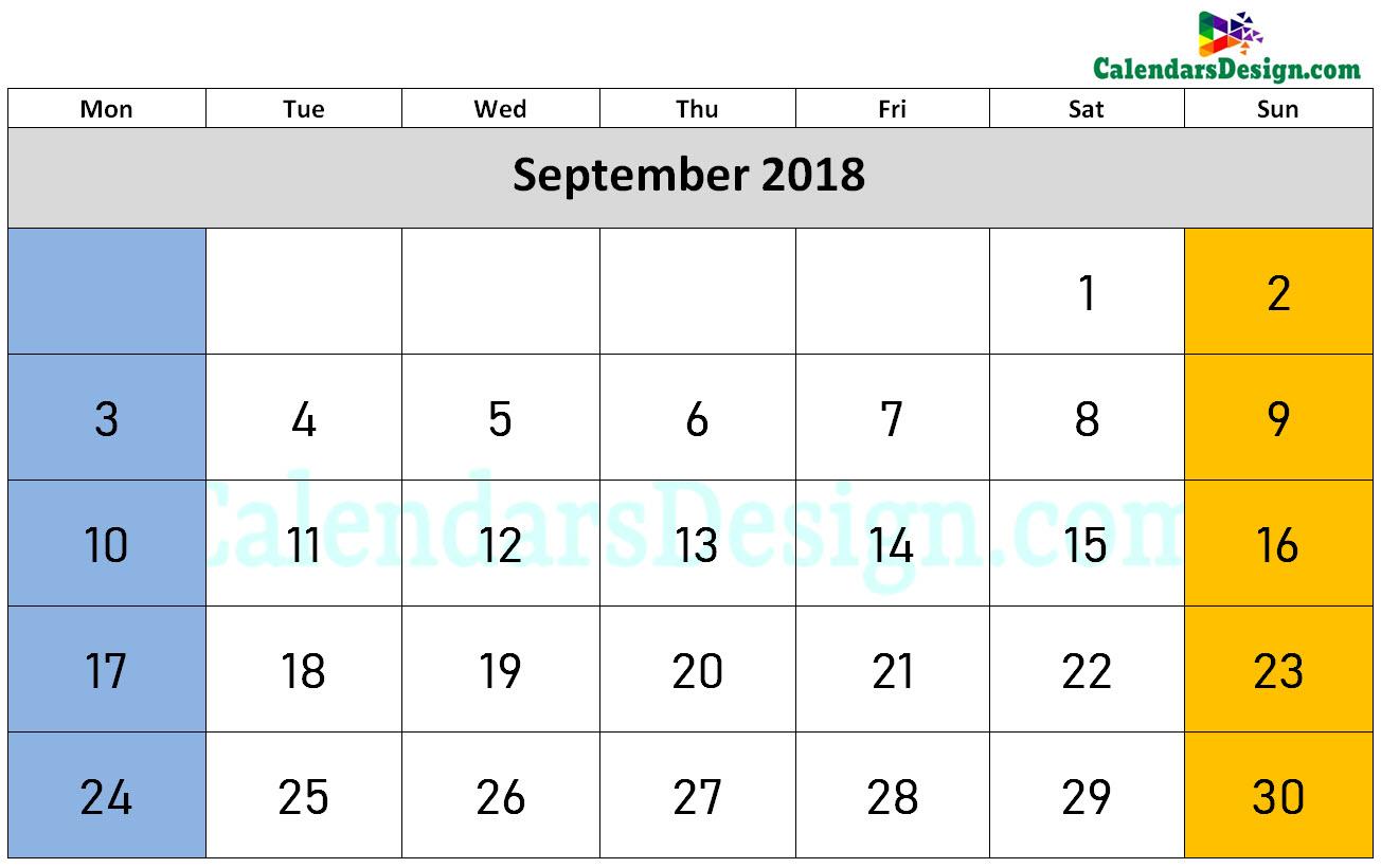 September Calendar 2018 Word Format