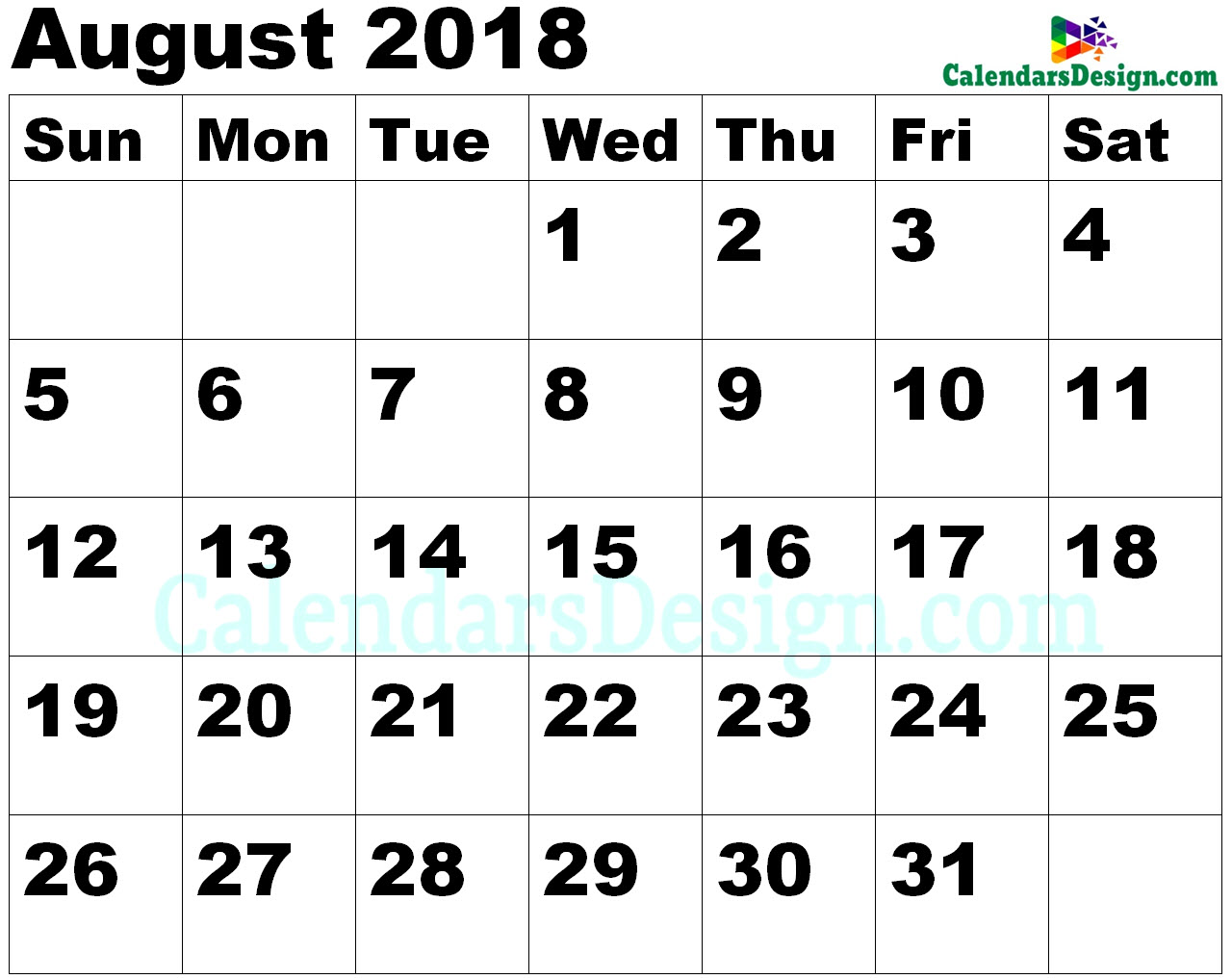 Vertex August Calendar 2018 Printable