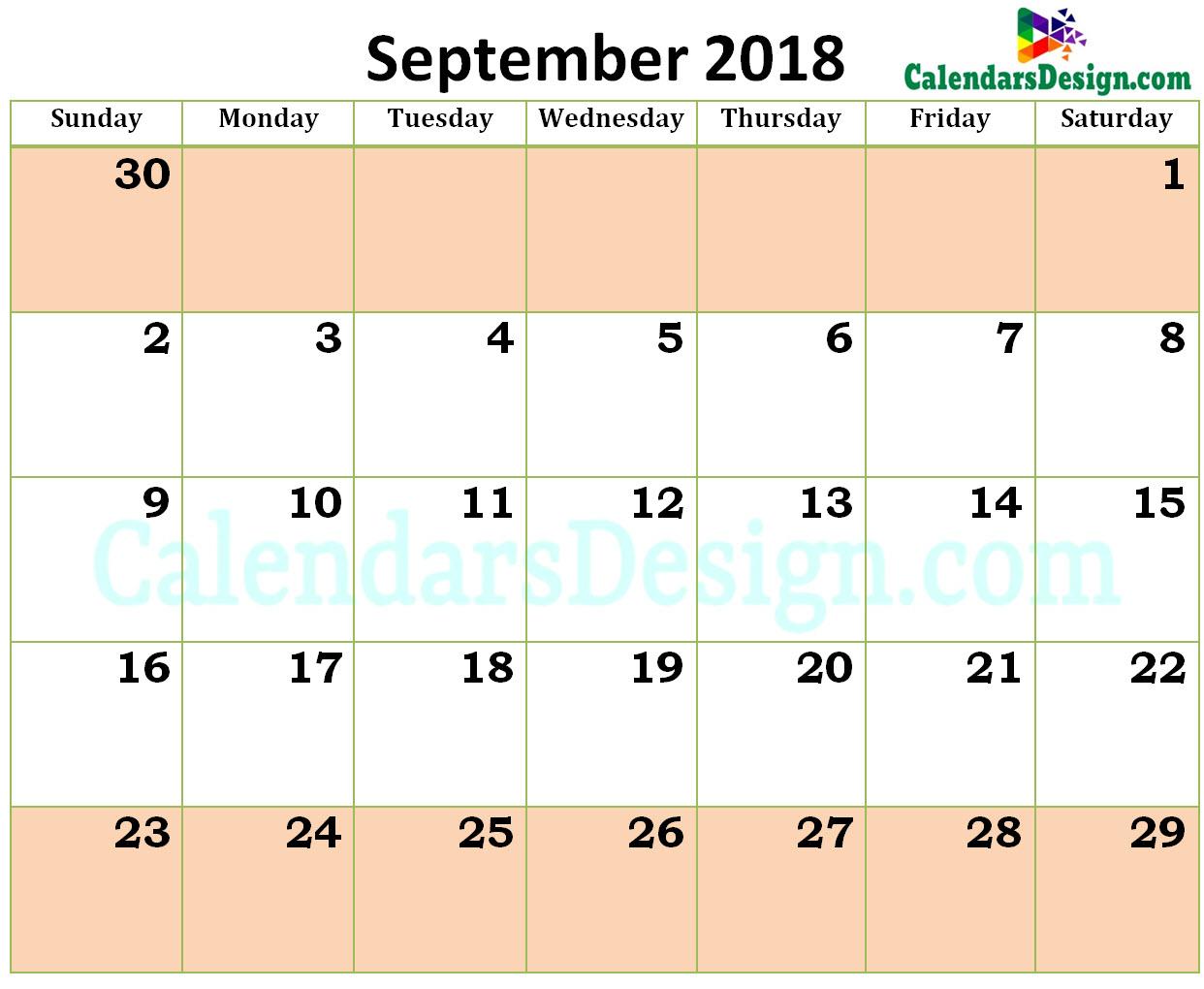 2018 Calendar September Excel Templates