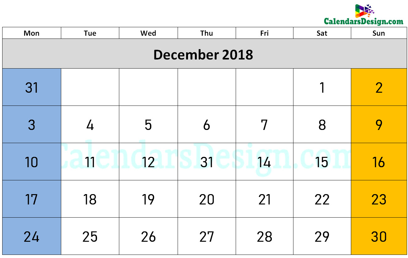 2018 December Calendar Holidays in Word