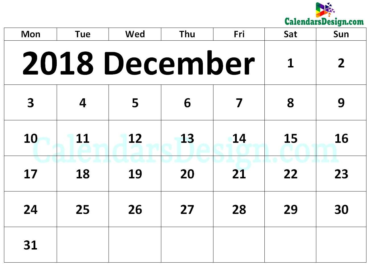2018 December Calendar Printable Template