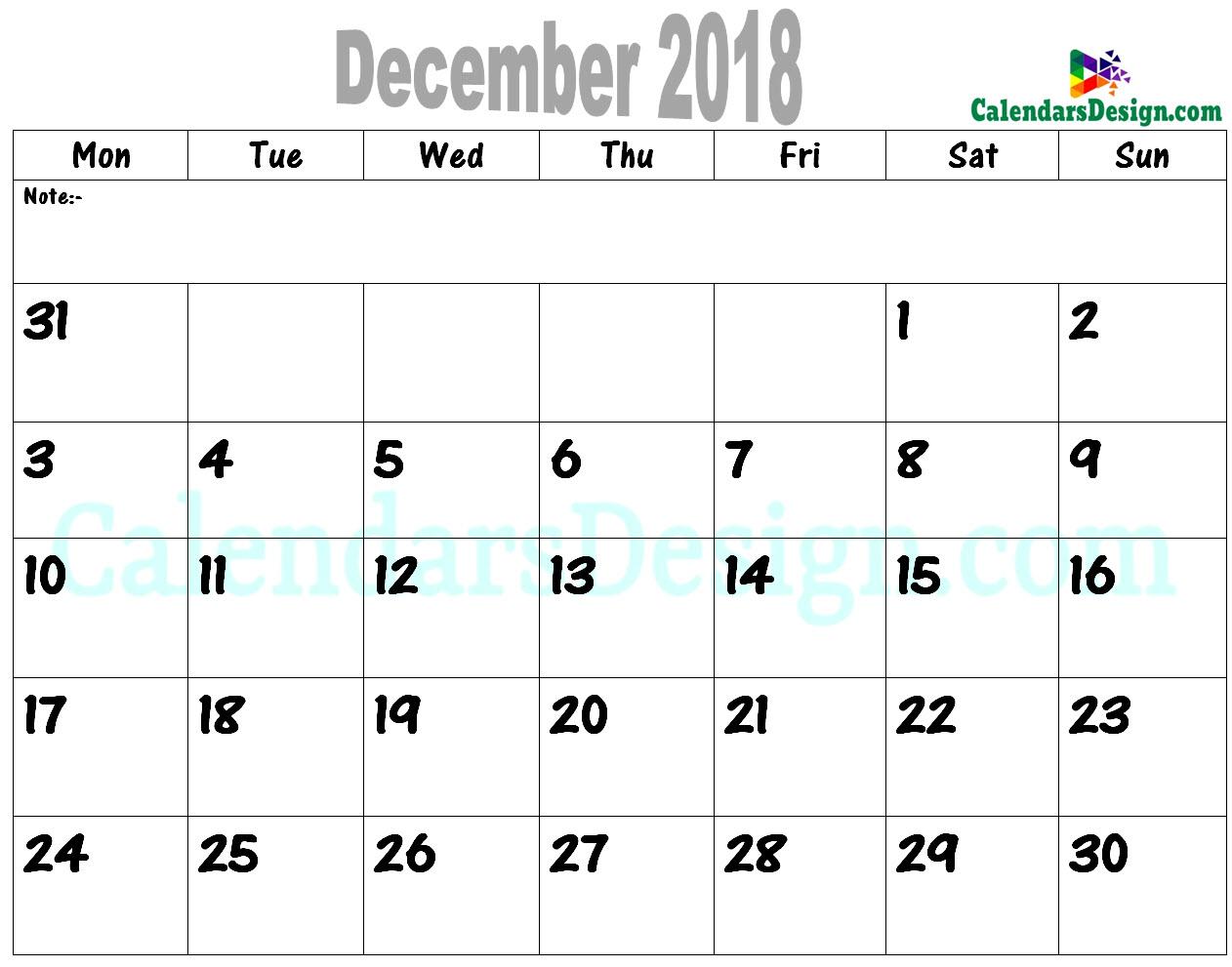 2018 December Printable Calendar PDF