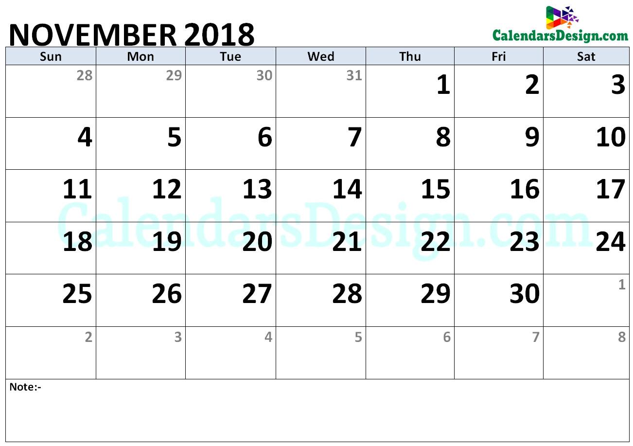 2018 November Calendar Holidays in Word