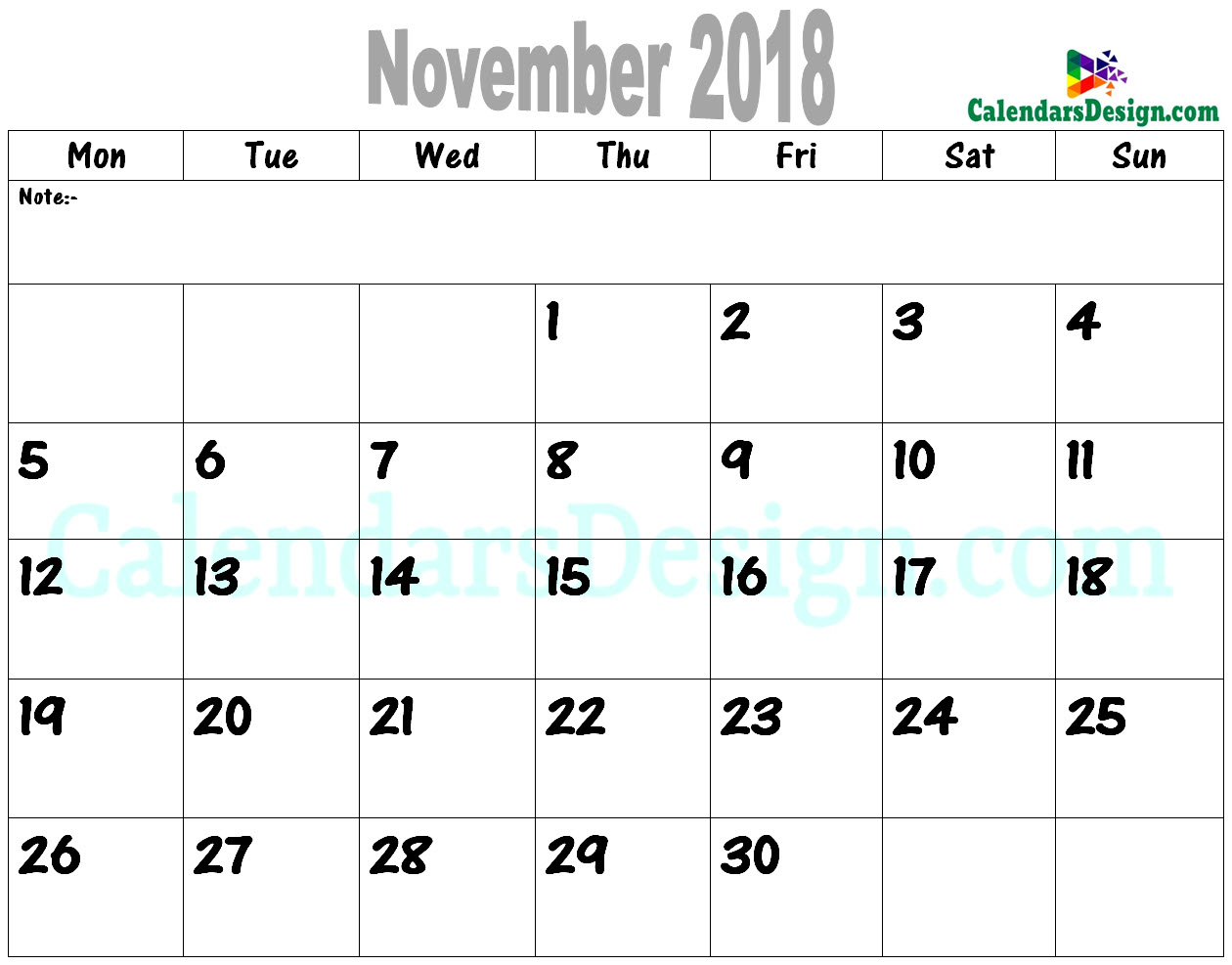 photograph about November Printable Calendar titled November 2018 Calendar PDF