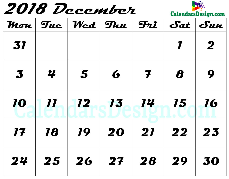 Blank December Calendar 2018 Template