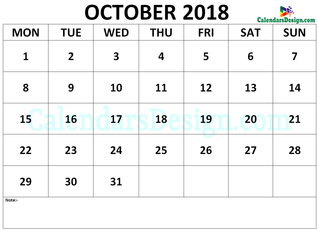 Calendar October 2018