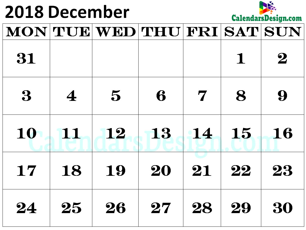 Calendar for December 2018 Excel to Print