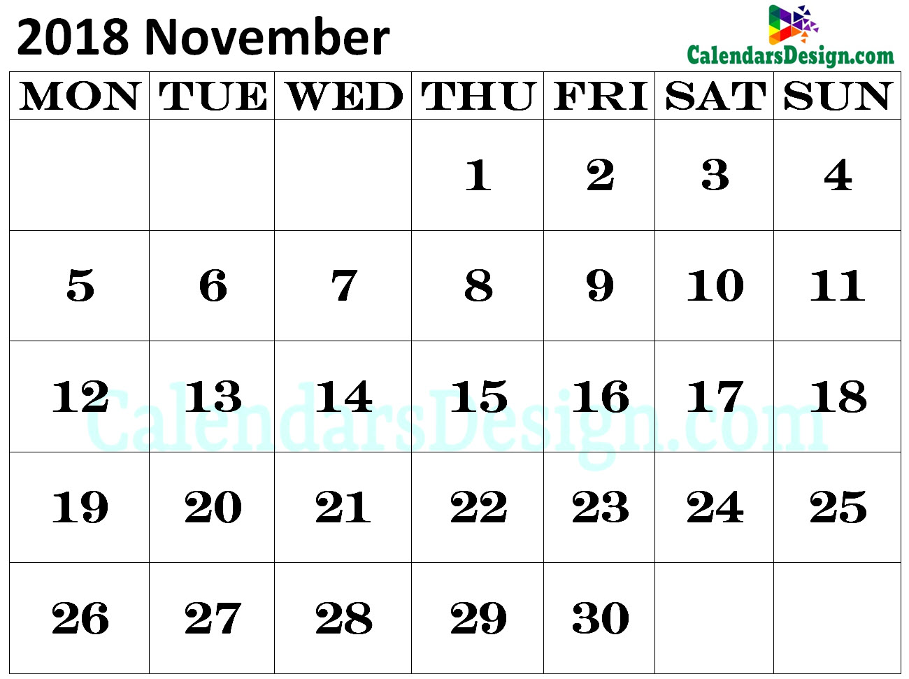 Calendar for November 2018 Excel to Print