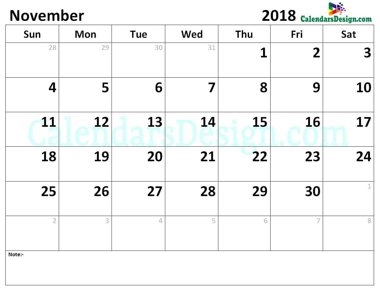 Calendar for November 2018