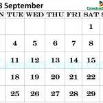 Calendar for September 2018 Excel to Print