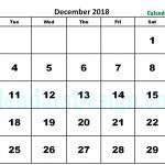 December 2018 Calendar Word