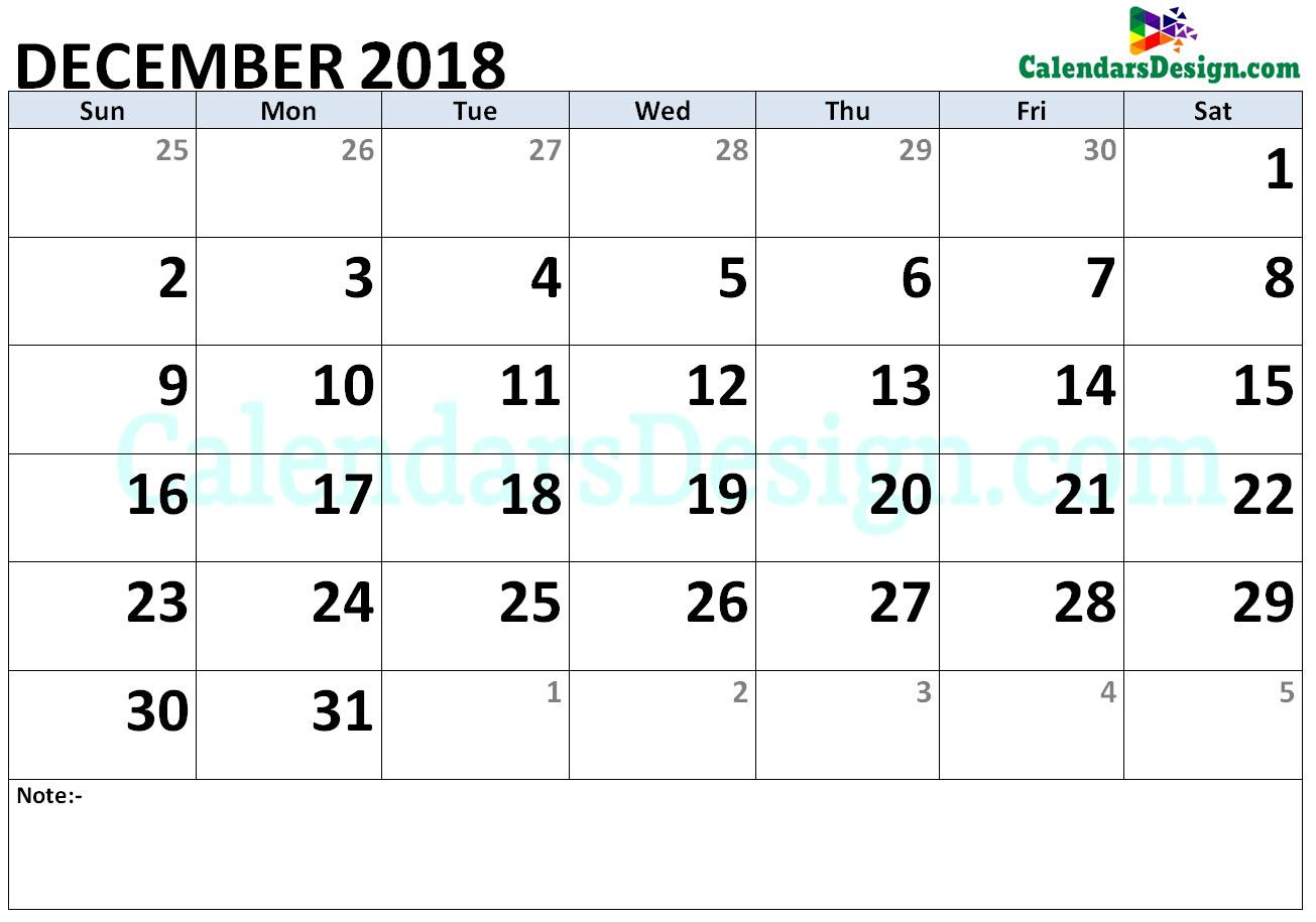 December 2018 Calendar Word Doc