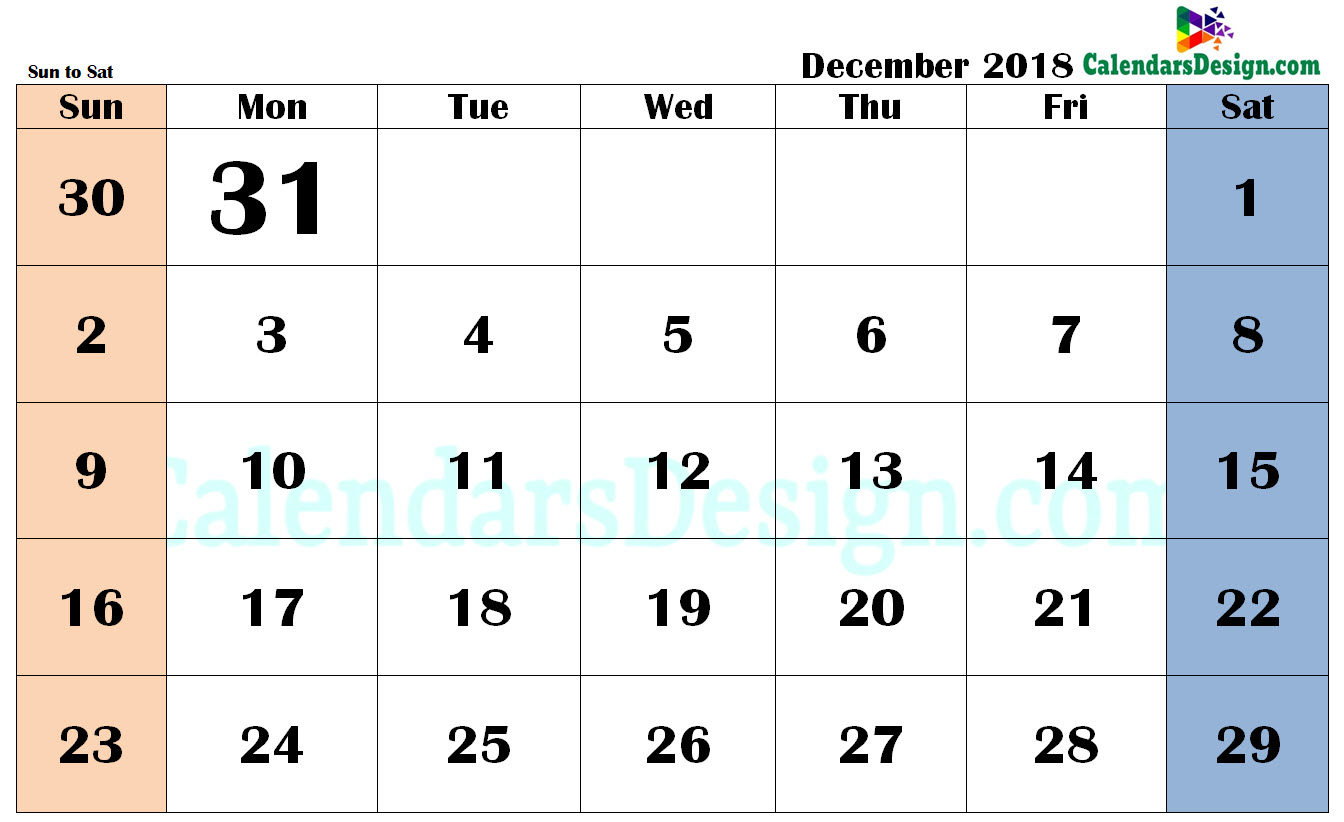 December 2018 Calendar in PDF