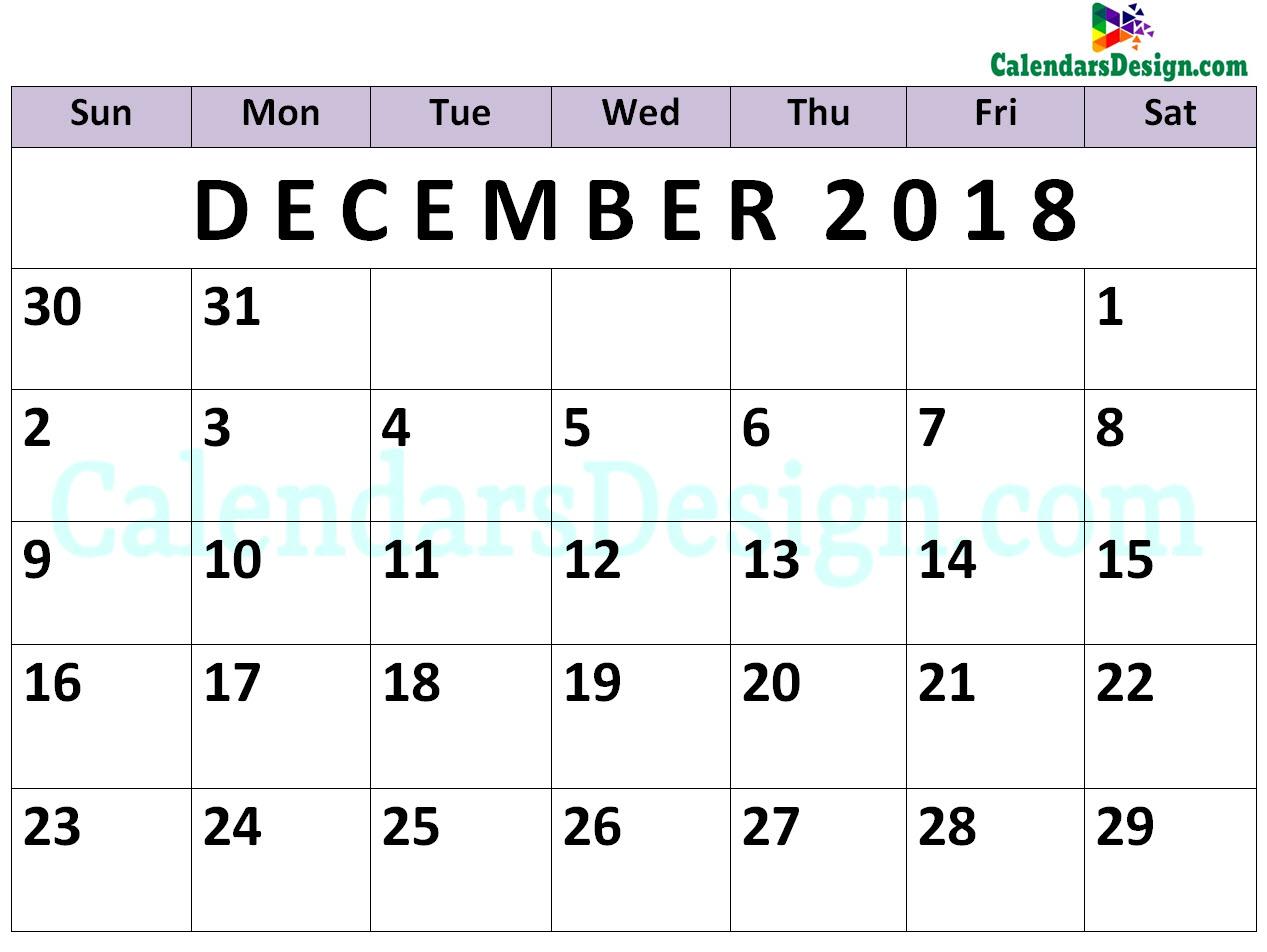 December Calendar 2018 PDF