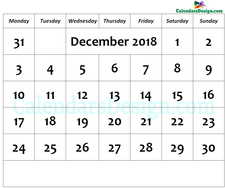 December Calendar 2018 Page