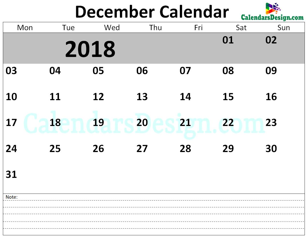 December Calendar 2018 Template