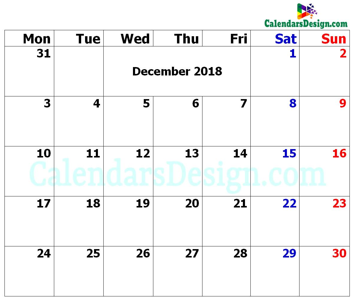 December Calendar 2018 in Excel Format