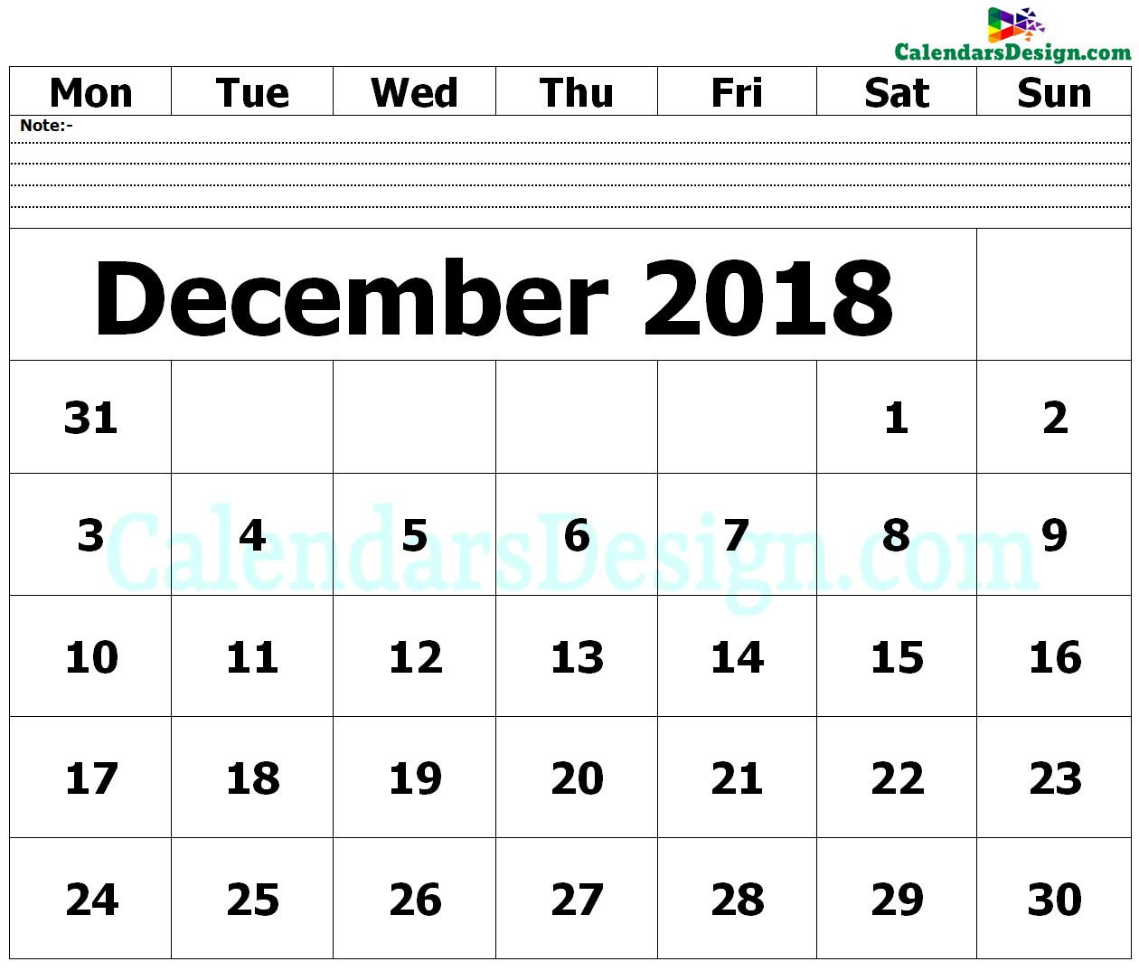 Editable December 2018 Calendar Blank Template