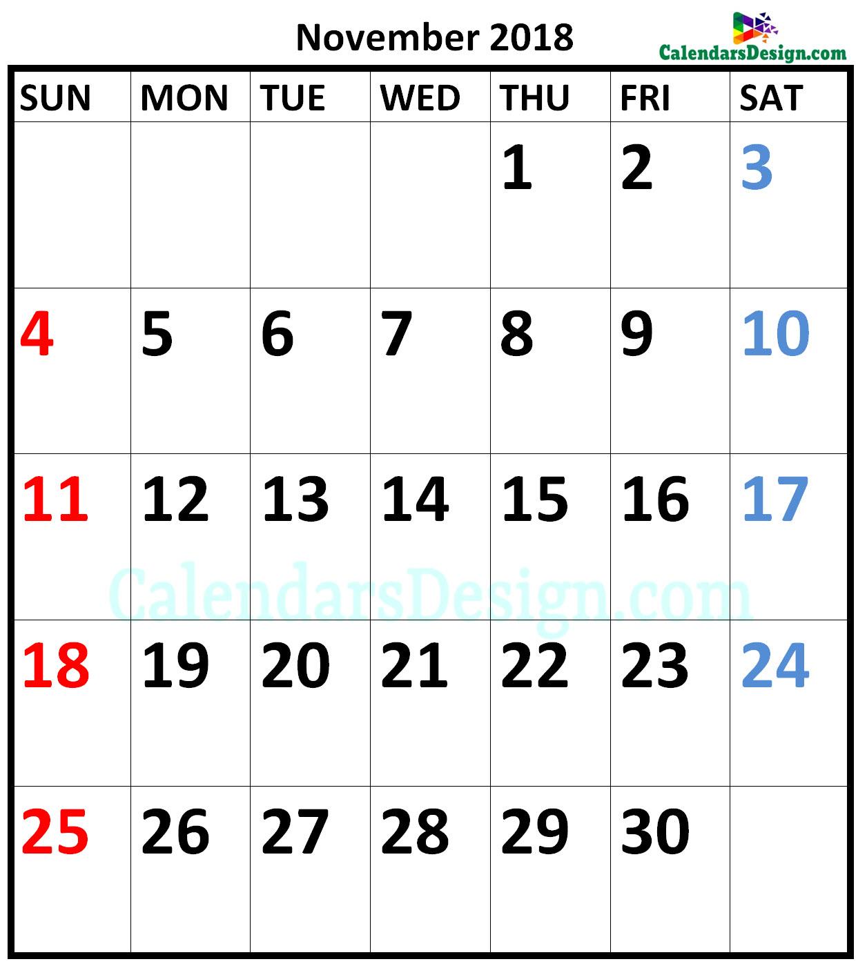 November 2018 Calendar A4 Size