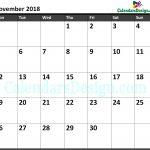 November 2018 Calendar Excel