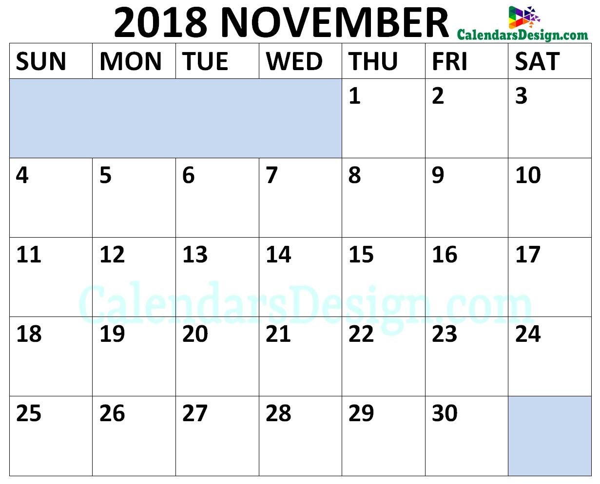 November 2018 Calendar Landscape