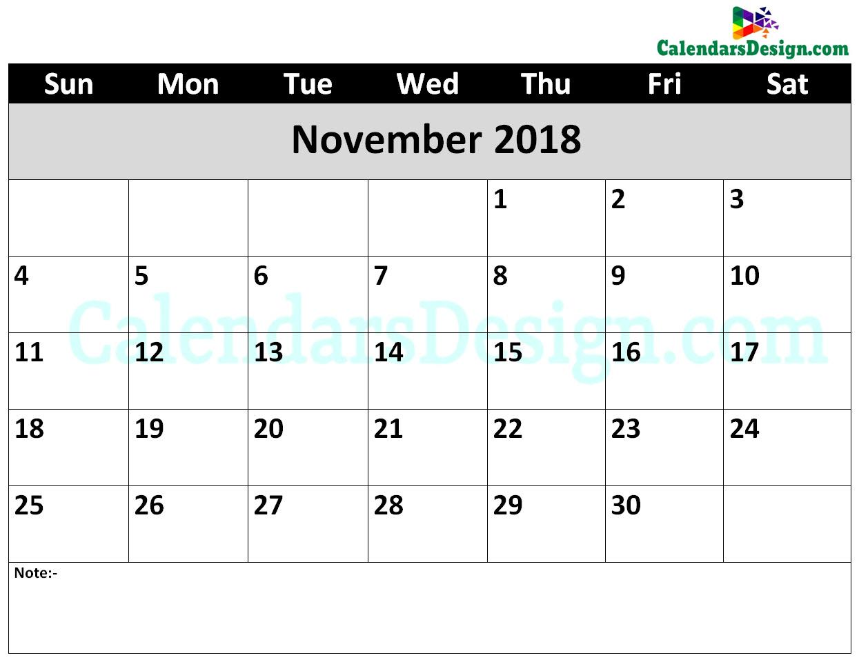November 2018 Calendar Word Doc