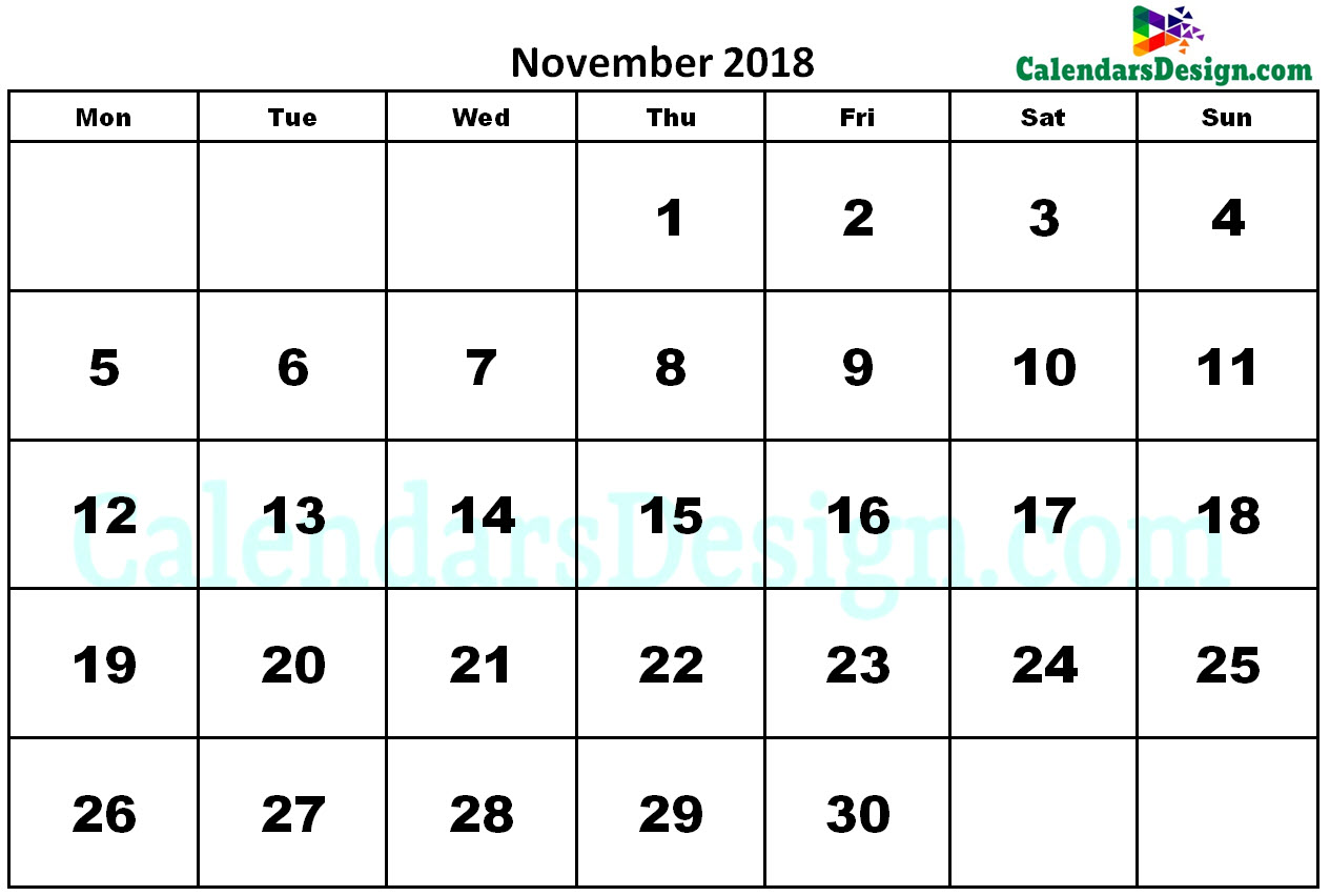 November 2018 Calendar Word