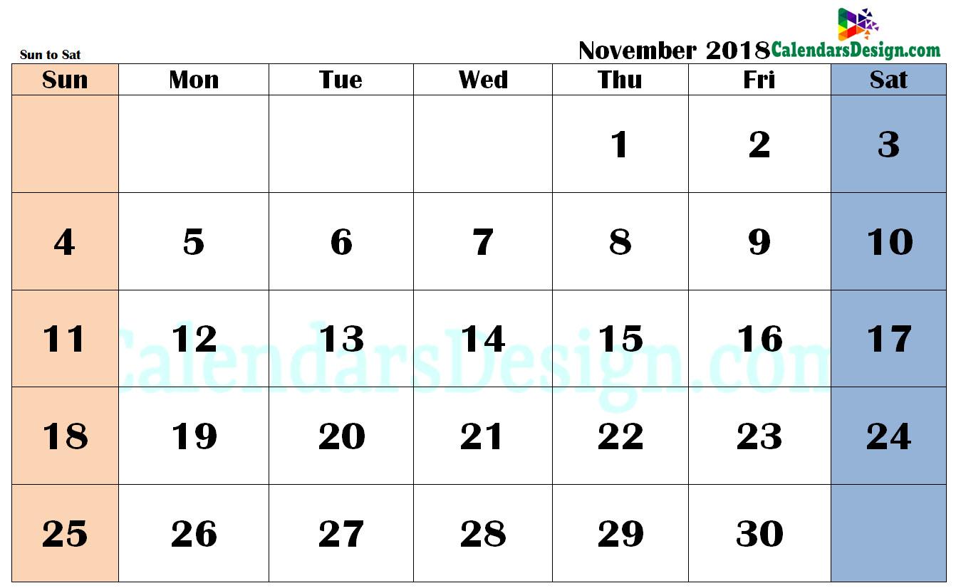 November 2018 Calendar in PDF