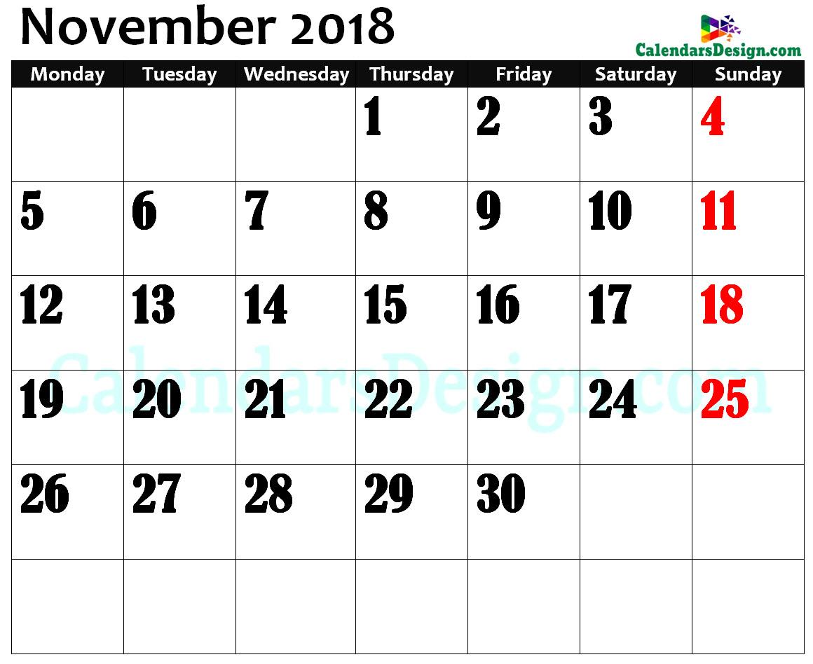 November 2018 Calendar in Page