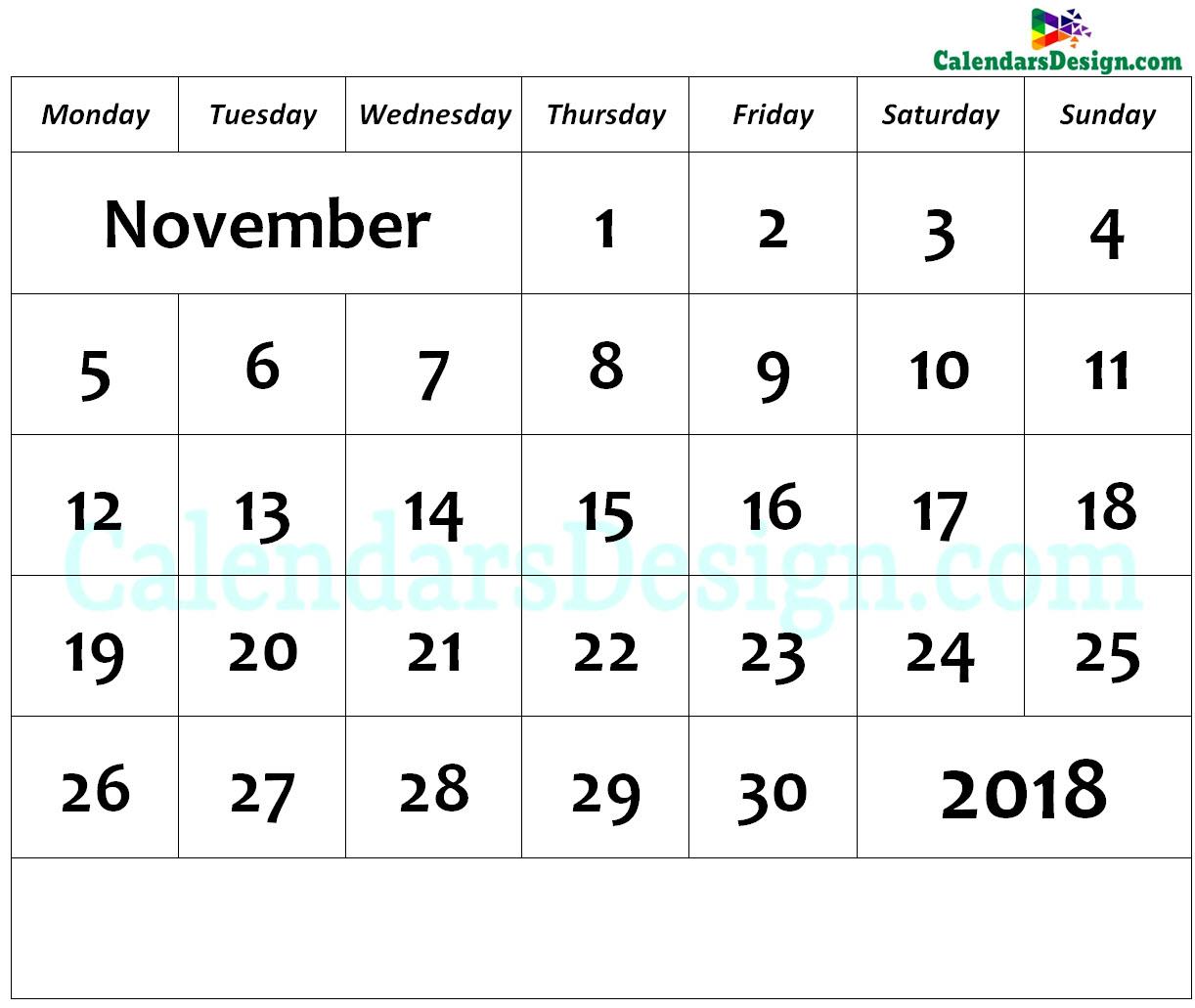 November Calendar 2018 Page