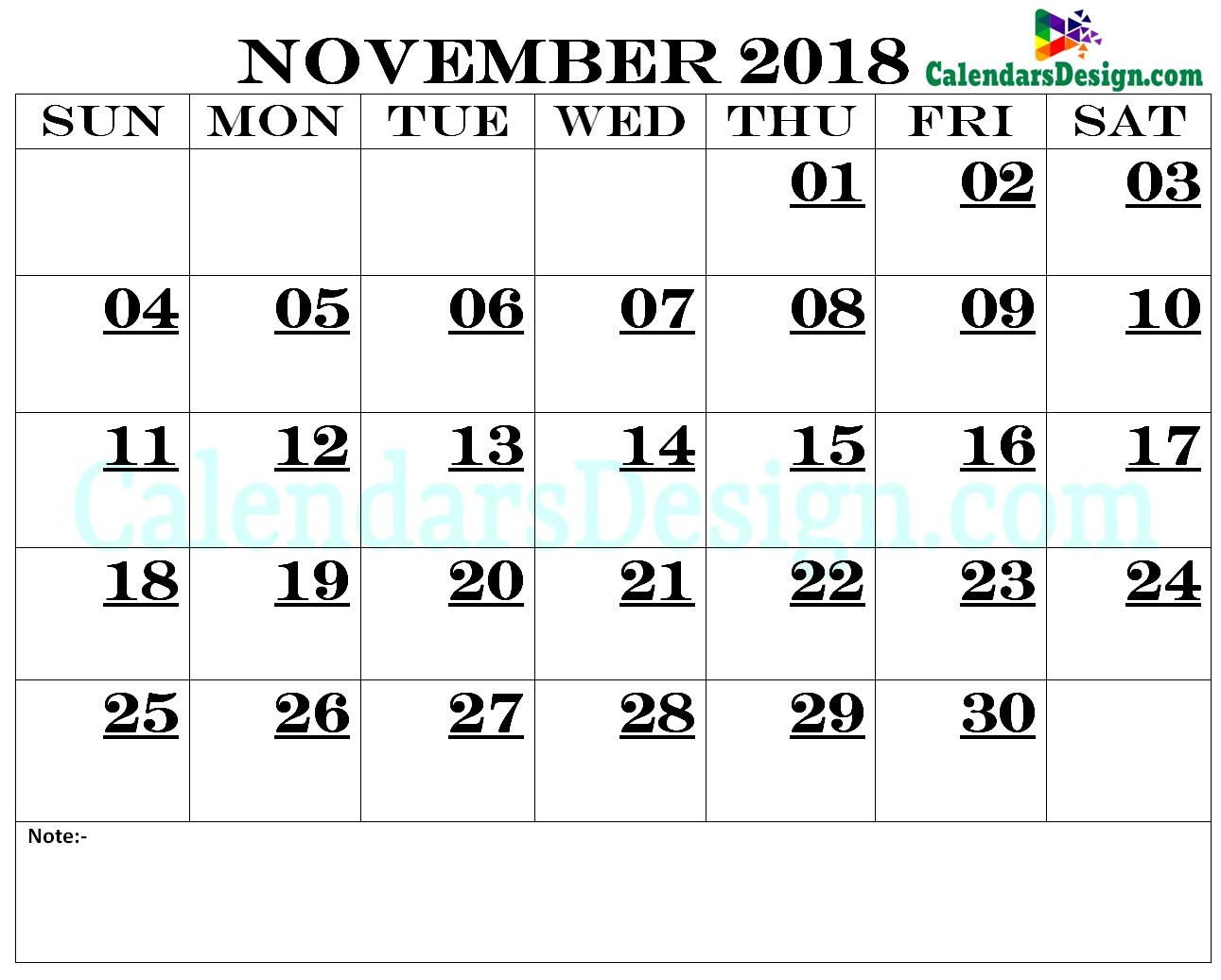 November Calendar 2018 Printable