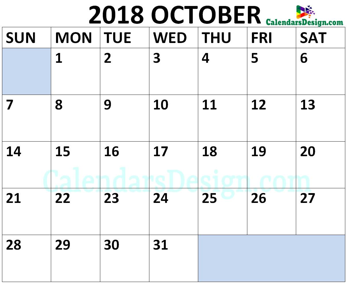 October 2018 Calendar Landscape