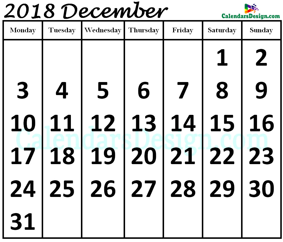 Print December 2018 Calendar in Page Format