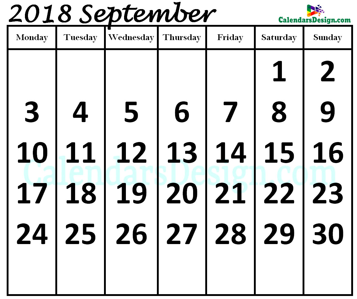 Print September 2018 Calendar in Page Format