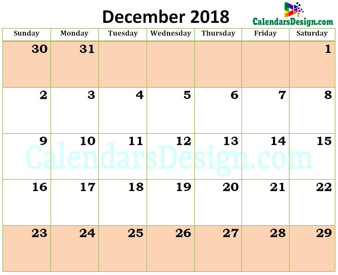 Printable Blank 2018 December Calendar Excel