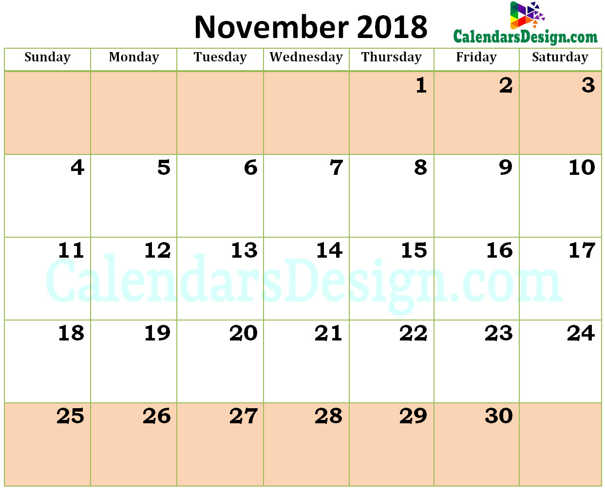 Printable Blank 2018 November Calendar Excel