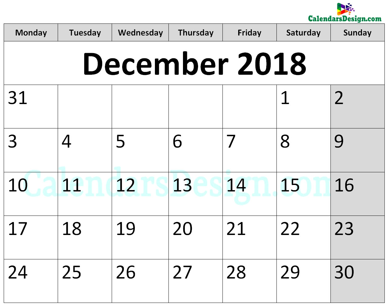 Printable Calendar for December 2018 Page