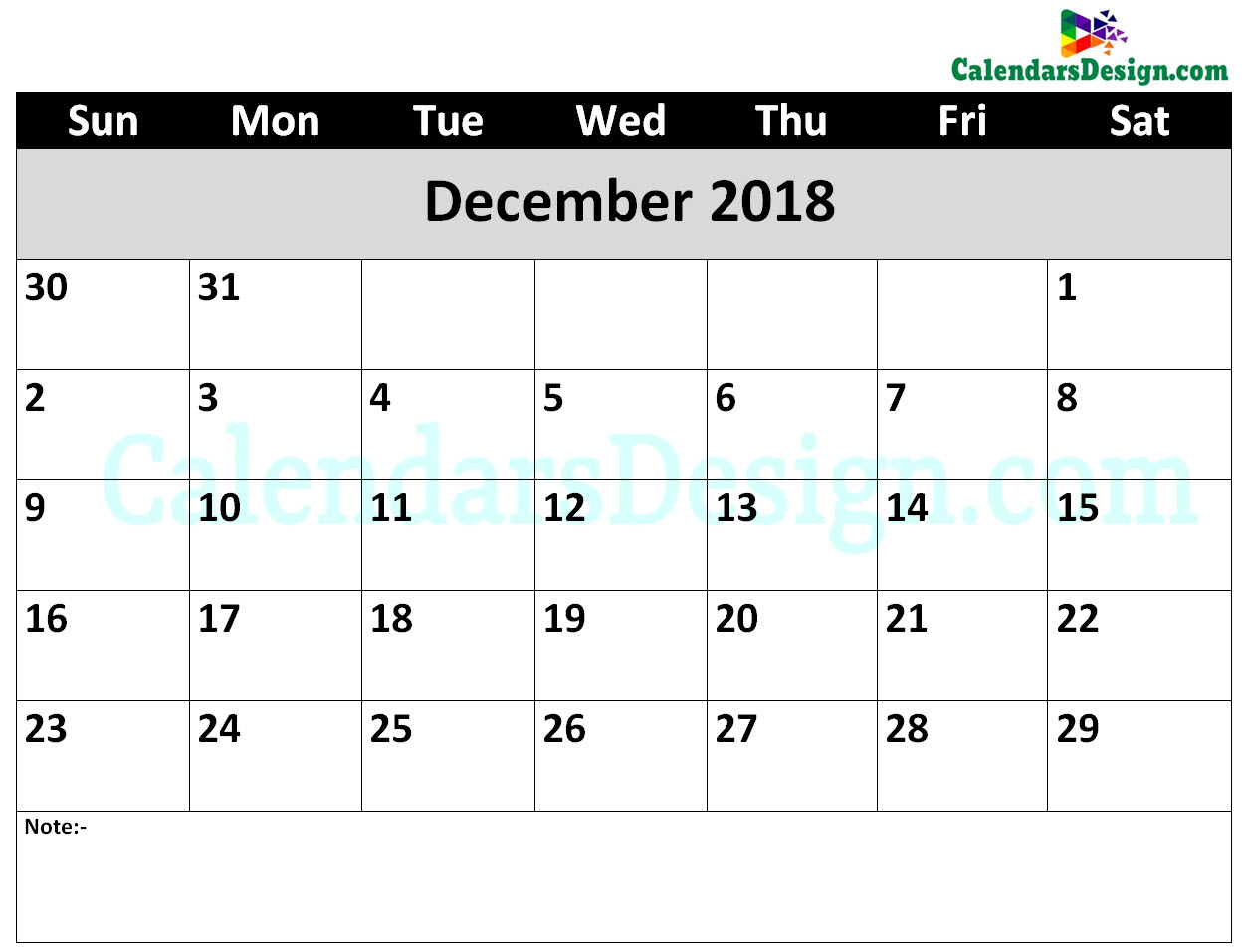 Printable Calendar for December 2018 Word