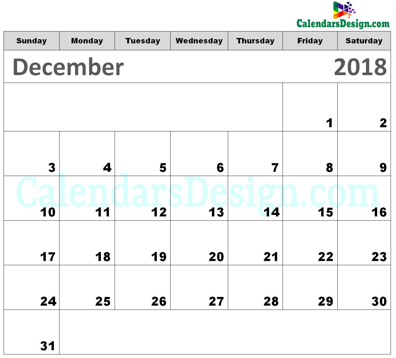 Printable Calendar for December 2018