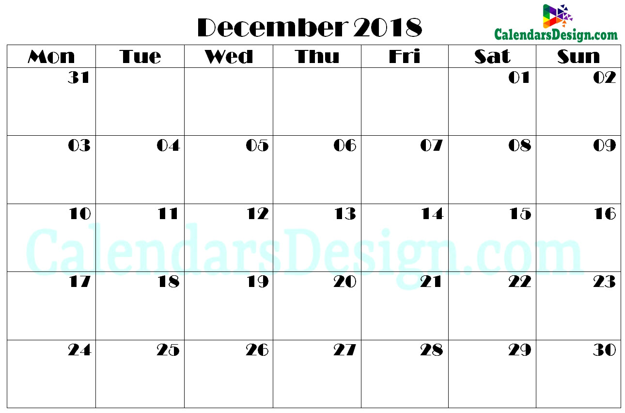 picture regarding Printable Calendar December Pdf referred to as Printable Calendar for December PDF - Absolutely free 2019 Printable