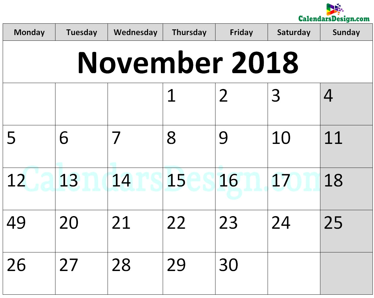 Printable Calendar for November 2018 Page